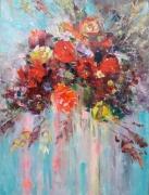 tableau fleurs bouquet of red roses flowers and plants home decor abstrait : painting *Bouquet of red roses* Livraison gratuite