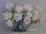 tableau fleurs abstraction fleurs pivoines roses pivoines : painting *Pivoines délicates* oil on canvas 80x60 cm  Vendu