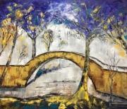 tableau architecture golden bridge architecture and cit abstract home decor : painting *Golden bridge*