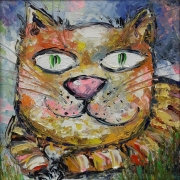 tableau animaux art : painting *Wise cat*