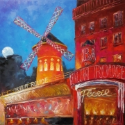 tableau architecture parismoulin rouge moulin rouge abstraction architecture : painting *Paris.Moulin Rouge*oil on canvas 80x80 cm