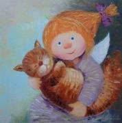 tableau animaux angel enfants fille chat : painting * Bayu , Baiushki -bayu * oil on canvas 60x60 cm