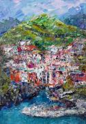 tableau paysages manarola art italy abstrait tableau manarola painting gift : Painting *Riomaggiore, Cinque-Terre. Italy*
