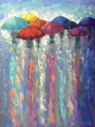 tableau personnages abstraction abstrait parapluies tableau : *On a meeting to a new day*Vendu