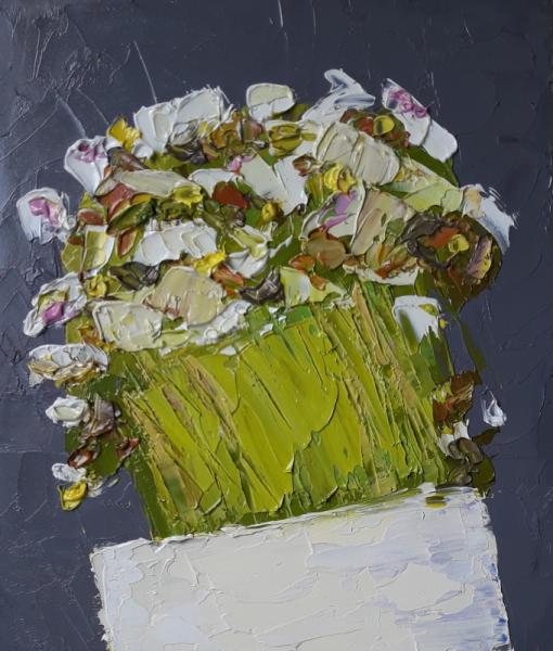 TABLEAU PEINTURE fleurs abstrait artmodern Tableaux Fleurs Peinture a l'huile  - Fleurs