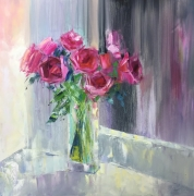 tableau fleurs abstraction abstrait fleurs roses : painting *Roses*