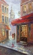 tableau architecture abstraction abstrait architecture tableau : *Romantic date*Oil on canvas 50x80 cm