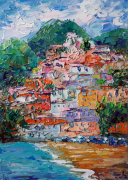 tableau paysages positano artwork painting italy artwork italy paysage italy : Positano Painting Italy Original Art Seascape Impressionist