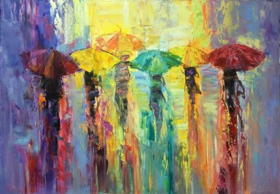 TABLEAU PEINTURE abstraction abstrait umbrellas architecture Abstrait Peinture a l'huile  - *Bright umbrellas* Emotion of Freedom Vendu