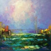 tableau marine abstait architecture and cit : painting *Wind liberty* Livraison gratuite