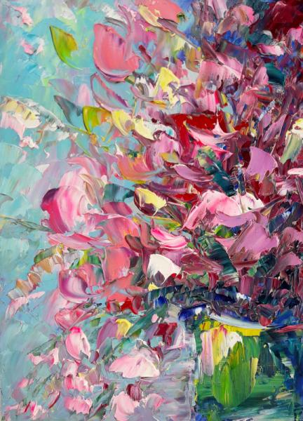 TABLEAU PEINTURE Fleurs Artwork Flower Abstrait fleurs Abstrait Fleurs Peinture a l'huile  - Fleurs
