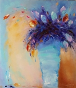 tableau fleurs tulips fleurs moderne abstraction : painting *Magic tulips*