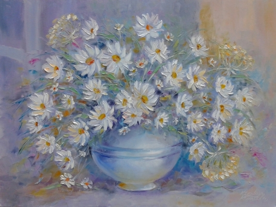 TABLEAU PEINTURE abstraction Marguerite blanche blanche Fleurs Peinture a l'huile  - painting*Marguerite blanche donner le bonheur ... * Vendu