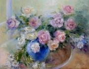 tableau fleurs fleurs moderne bouquet roses : painting * Bouquet of roses* Oil on canvas 90x70 cm  Vendu