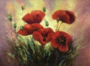 tableau fleurs red poppies fleurs poppies abstrait : painting *Red poppies*oil on canvas 80x60cm