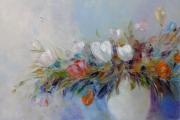 tableau fleurs abstraction fleurs interieur de peintur tulipes : painting*Extravagance de fleur*Oil on canvas 90x60 cm