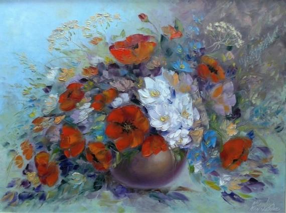 TABLEAU PEINTURE des makis bouquet fleurs moderne Fleurs Peinture a l'huile  - painting *des makis* 80x60 cm