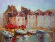 tableau marine abstraction architecture bateaux abstrait : Peinture*Normandie. Romantique  Honfleur *huile sur toile 90x70