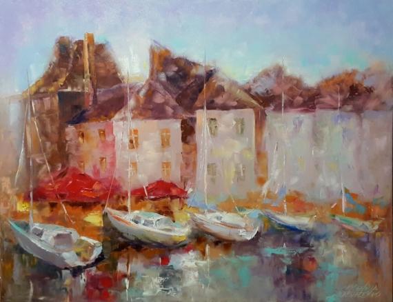 TABLEAU PEINTURE abstraction architecture bateaux abstrait Marine Peinture a l'huile  - Peinture*Normandie. Romantique  Honfleur *huile sur toile 90x70