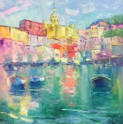 tableau architecture sunny procida italy architecture and cit abstract painting home decor : painting *Sunny Procida Italy* Livraison gratuite