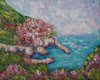 Manarola Painting Italy Original Art Seascape Impressionist