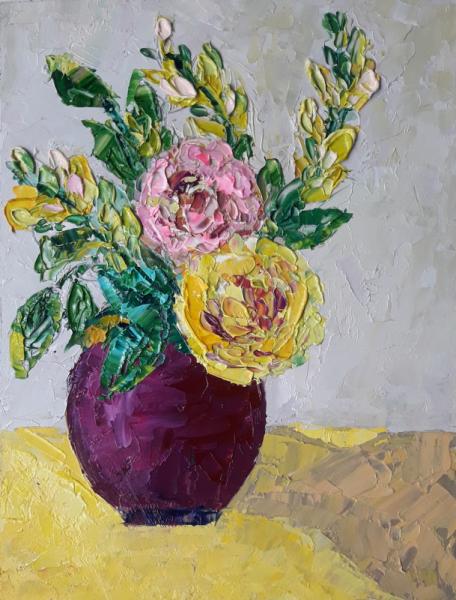 TABLEAU PEINTURE fleurs abstrait artmodern Tableaux Abstrait Peinture a l'huile  - Sunny bunch of flowers