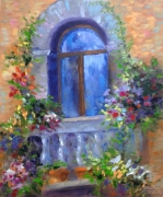 tableau architecture balcony terrasse architecture abstraction : painting *Balcony*oil on canvas 50x60 cm