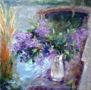 tableau fleurs fleurs lilas moderne image : painting*le lilas* 70x70cm