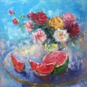 tableau fleurs abstract flowers and plants : JUICY WATERMELON