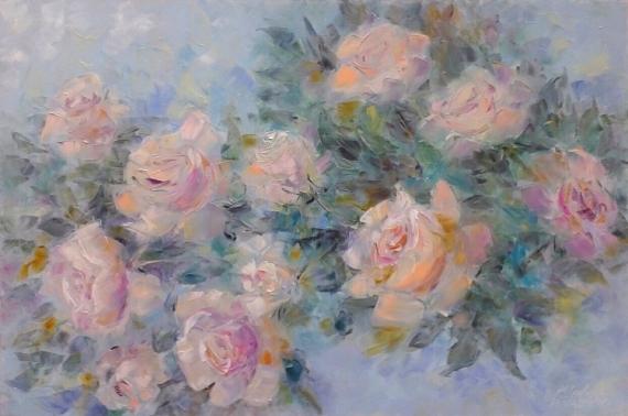 TABLEAU PEINTURE architecture fleurs abstraction Intérieur de peintur Fleurs Peinture a l'huile  - painting*Belle parfum rose, votre réveil le matin*Oil on canvas