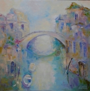 tableau architecture ville architecture abstraction interieur de peintur : painting *Ville Romantics et poètes*Oil on canvas 80x80 cm