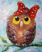 tableau animaux charming owl painting charming owl artwork original artpaintin abstrait artmodern : Charming Owl painting
