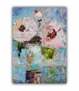 tableau fleurs art flowers flower rose fleurs rose abstract floral : Painting-Bouquet-Flowers