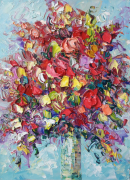 tableau fleurs flower roses abstract flower red flower impasto art : painting *Summer bright bunch of flowers* #2
