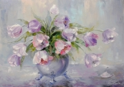 tableau fleurs bouquet fleurs moderne tulipes : painting *Tulips * Oil on canvas 70x50 cm  Vendu