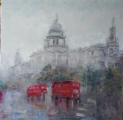 tableau architecture rain in london abstrait london bus rouge : painting *Rain in London* Vendu