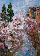 tableau paysages painting sakura art impasto art sakura blossom : painting Sakura Blossom
