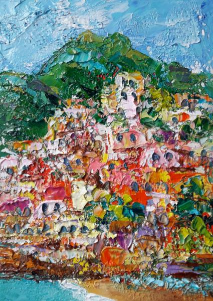 TABLEAU PEINTURE Italy art Abstrait Positano Artmodern gift Fleurs art Paysages Peinture a l'huile  - Charming Positano. Italy.