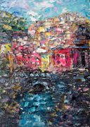 tableau marine artmodern abstrait creation art manarola : Painting Manarola. Italy.