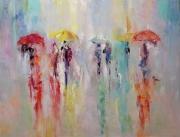 tableau personnages les parapluies autumn amoureux amour : painting *Décorez les parapluies d'automne*vendue