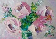 tableau fleurs rose artwork rose impasto art original art flower roses : *Bright pink roses in a vase*