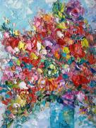 tableau fleurs flower roses art impasto art flower ar abstract flower : painting *Summer bright bunch of flowers* #1