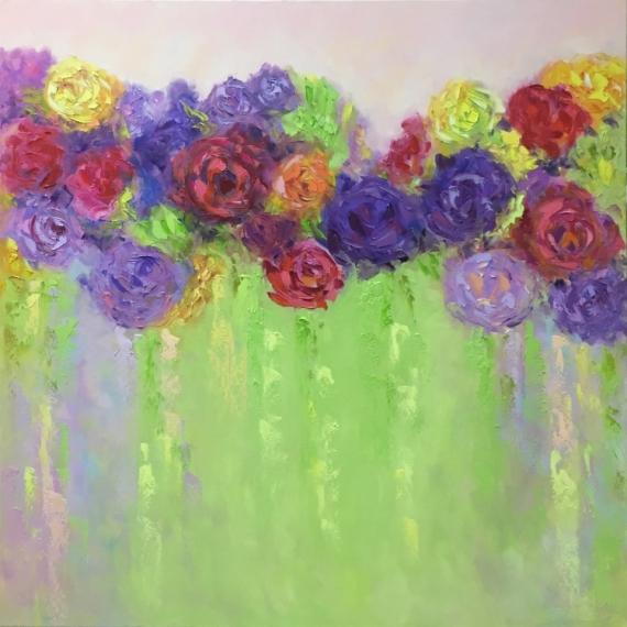 TABLEAU PEINTURE abstraction abstrait Abstrait Peinture a l'huile  - painting *Bright for flirt* oil on canvas 80x80cm