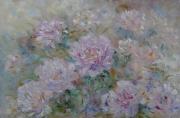 tableau fleurs abstraction interieur de peintur fleurs pivoines : painting *Pivoines roses*oil on canvas 90x60 cm  Vendu