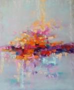 tableau abstrait abstrait des emotions clairorangerose rosebleu : painting *Gentle emotions* Vendu