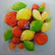 tableau abstrait citrons fruit oranges interieur de peintur : painting*Fruity fireworks*oil on canvas 80x80cm