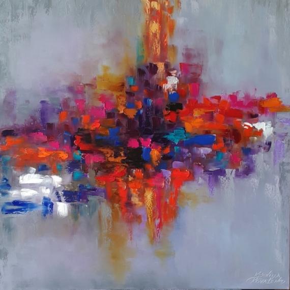 TABLEAU PEINTURE abstrait Abstrait Peinture a l'huile  - painting * Rainbow of emotions* oil on canvas 80x80cm  Vendu