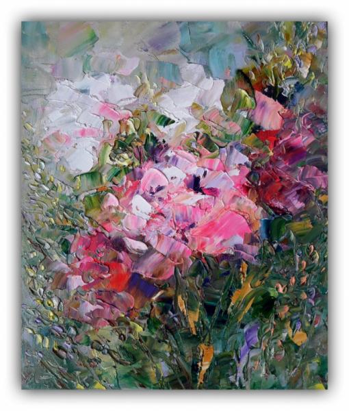 TABLEAU PEINTURE fleurs rose rose art abstrait Fleurs Peinture a l'huile  - Flowers Painting Floral Original Art Flowers Impasto