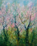 tableau paysages landscapes oil painting abstract tableau : tableau Sakura blossom