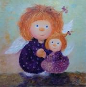 tableau abstrait fleurs angel fille enfants : painting *Girlfriends* Vendu